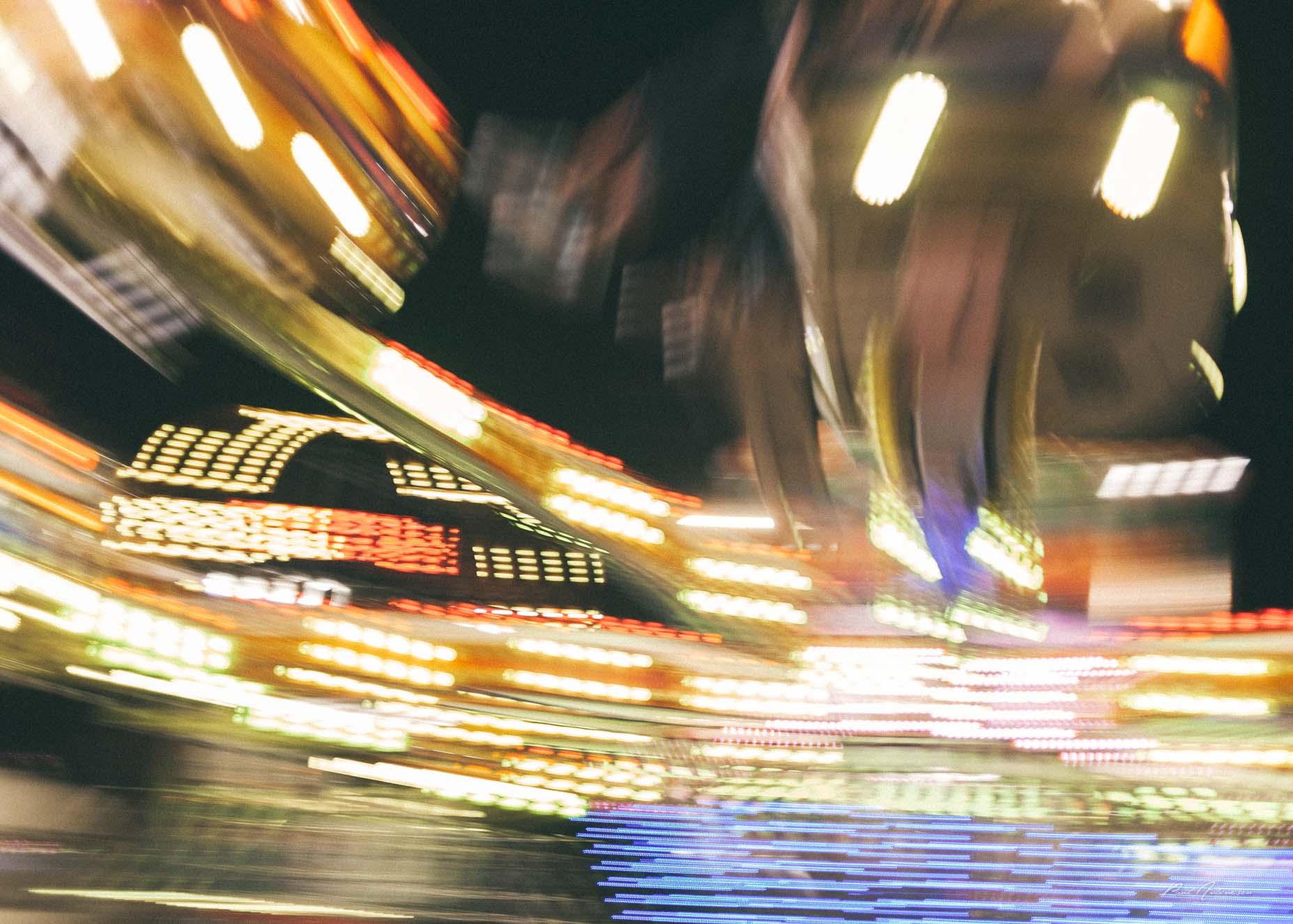Light trails in the amusement park
